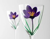 Purple Crocus Flower Hand Painted Wine Glasses - Limited Edition for Mothers Day