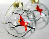 Christmas Cardinal Glass Ornaments--Set of 2