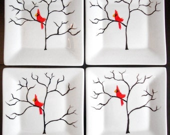 Red Cardinal Bird Square Appetizer Plates - 8 Piece Red Bird Christmas Plate Collection