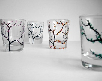 The Four Seasons Shot Glasses - 4 Piece Hand Painted Collection