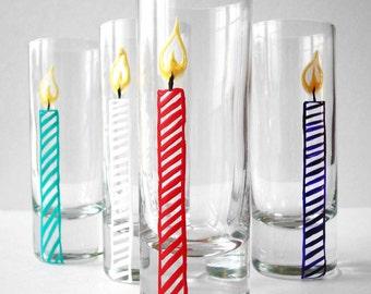 Happy Birthday Candle Shot Glasses--Set of 4