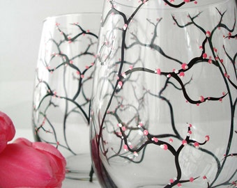 Pink Cherry Blossom Wine Glasses - Set of 2 Hand Painted Stemless Glasses