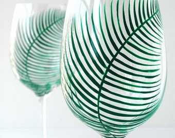 Summer Green Fern Wine Glasses - Set of 2 Hand Painted Glasses