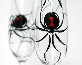 Black Widow Spider Halloween Toasting Flutes - Set of 2 Hand Painted Champagne Flutes - Halloween Wedding