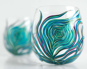 Peacock Feather Stemless Wine Glass - Single Hand Painted Peacock Glass