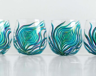 Peacock Stemless Wine Glasses - Set of 4 Hand-Painted Glasses