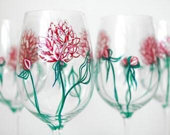 Pink Peonies Wine Glasses - Set of 4 Hand-Painted Glasses