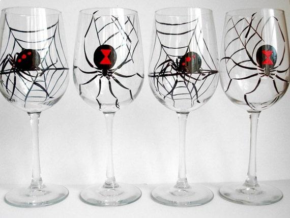 Black Widow Wine Glasses--Set of 4