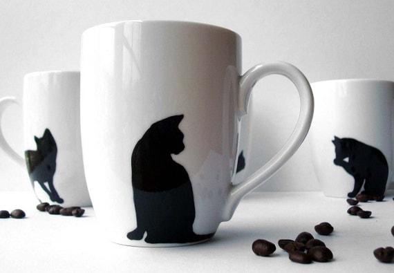 Black Cat Coffee Mugs--4 Piece Collection