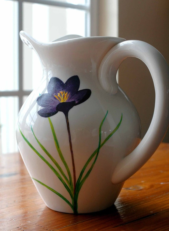 Your Mother's Favorite Spring Pitcher - Hand Painted Limited Edition Mothers GIft - Purple Crocus Flower