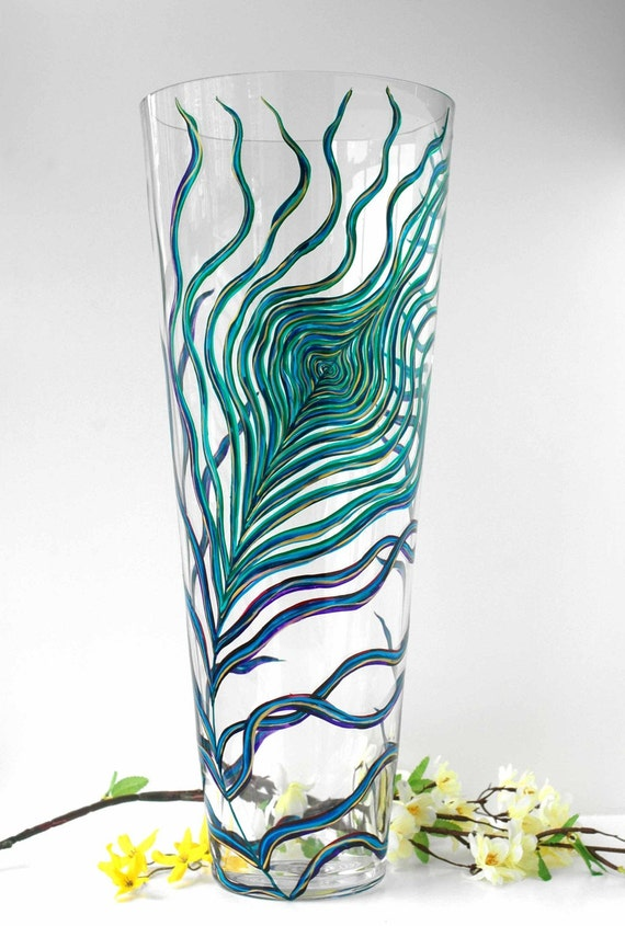 Extra tall peacock hand painted glass vase