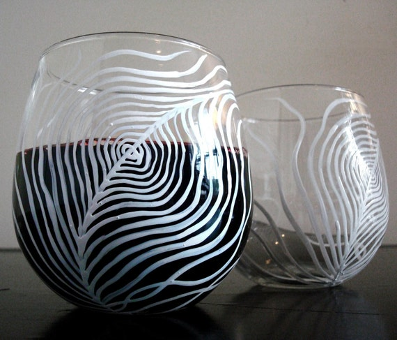White Peacock Feather Stemless Wine Glasses - Set of 2 Hand Painted Stemless Glasses - LAST SET