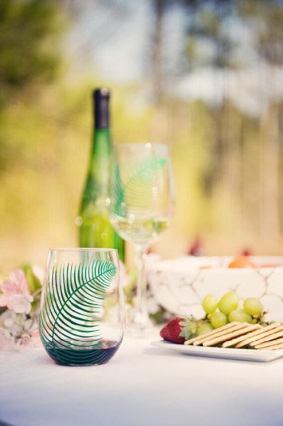 Hand Painted Fern Wine Glasses - Set of 2 Fern Glasses, Stemless Glasses, Hand Painted Glass, Green Ferns, Fern Glassware Summer Wedding