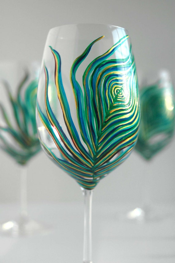 Peacock Feather Wine G...