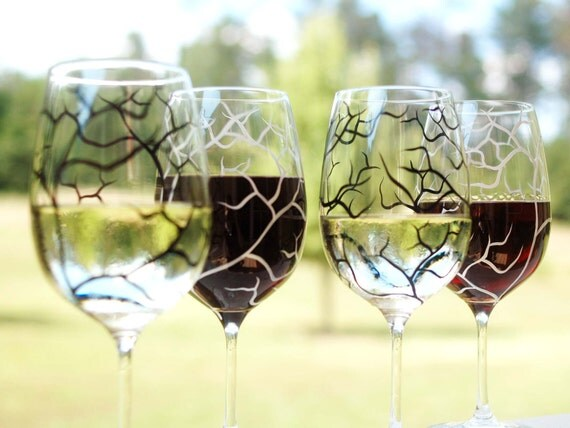 Black and White Tree Branch Wine Glasses - Set of 4 Hand Painted Glasses