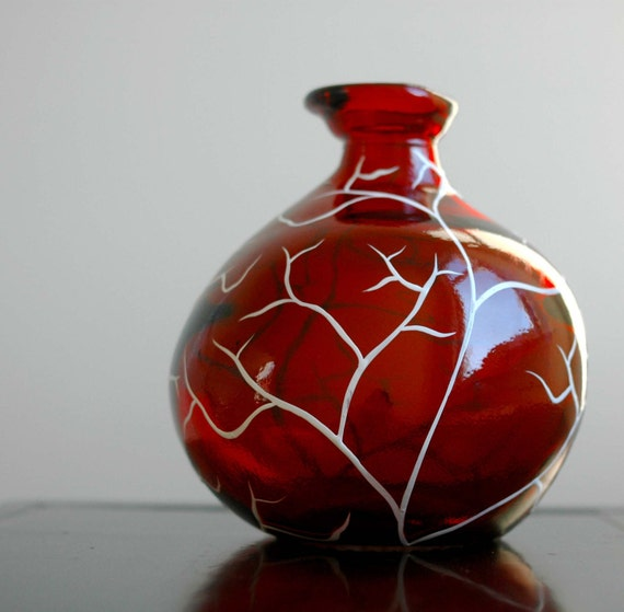 Festive White Tree on Red Glass Vase - Last One