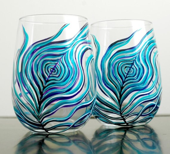 Peahen Peacock Feather Stemless Wine Glasses - Set of 2 Peacock Wine Glasses in Teal, Purple and Silver
