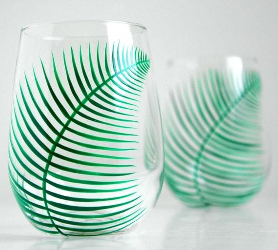 Green Ferns Stemless Wine Glasses - Set of 2 Hand Painted Fern Glasses