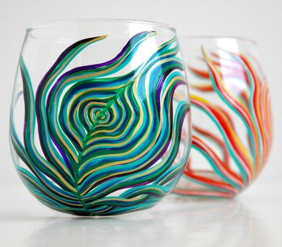 Yin and Yang Peacock Stemless Glasses--Set of 2 Hand-painted Wine Glasses