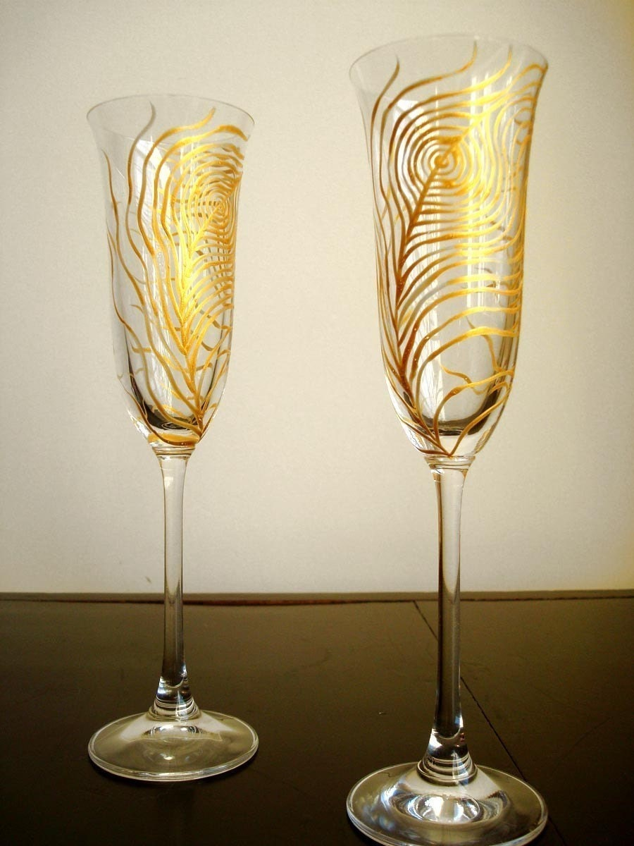 Gold Peacock Champagne Flutes-Set of 2