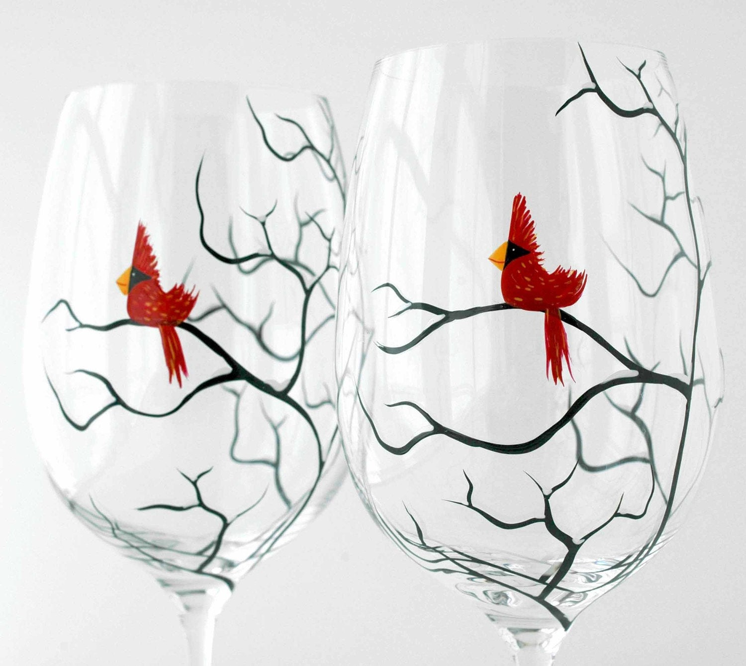 Christmas cardinal wine glasses set of 2 hand painted for Christmas glass painting