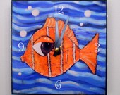 Fish Clock 6 x 6 inches, Functional Art, Sea, Ocean, Child's Room, Nemo