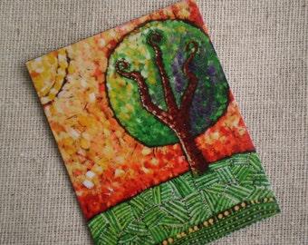 Landscape Magnet, Nature Art, Teacher Gift, Whimsical Art, Folk Art, Office Art, Happy Art