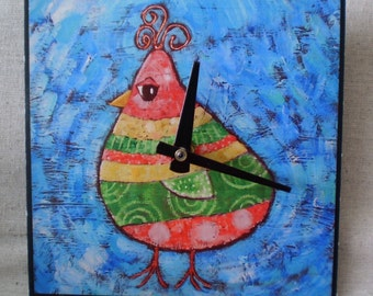 Technicolor Bird Clock, Fantasy Clock, Woodland, Bird Clock, Exotic, Red Green Yellow, Whimsical Clock, 6 x 6 inches