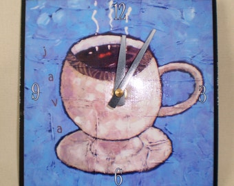 Coffee Cup Clock, Caffeine, Java, Cup of Coffee, Brew, Latte Espresso, Kitchen Clock, Functional Art