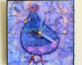 Purple Bird Clock, Whimsical Clock, Functional Art, Wall Clock, Home Decor, Handmade Clock