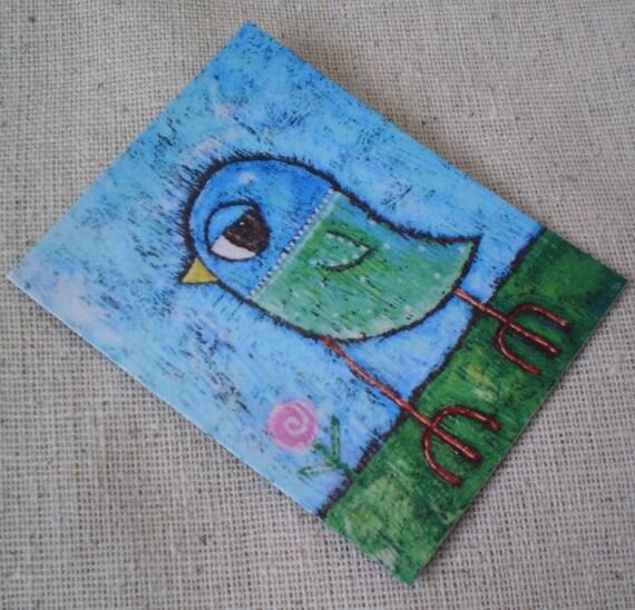 Bird Magnet, Whimsical Art, Woodland Art, Humorous Art, Refrigirator Magnet,