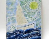 hand carved ceramic tile sailboat and water