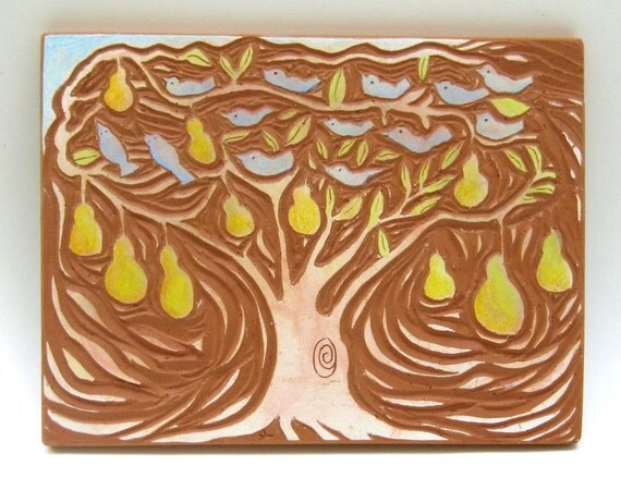 hand carved ceramic art tile chirpy pear tree