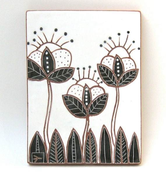 hand carved ceramic art tile leaves and pods