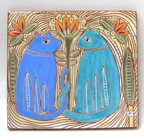 colorful cats hand carved ceramic art tile