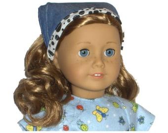 "Denim Bandana - Made to Fit American Girl / 18"" Doll - Doll Clothes - Denim, Cloud White, Jet Black"