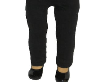 """Black Pants - Made to Fit American Girl / 18"""" Doll - Doll Clothes - Jet Black"""