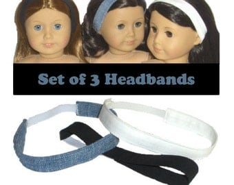 """3 Headbands - Made to Fit American Girl / 18"""" Doll - Doll Clothes - Jet Black, Cloud White, Denim"""