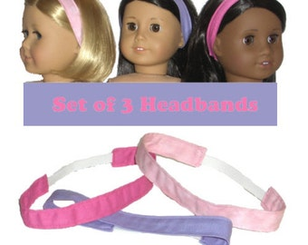 """3 Headbands - Made to Fit American Girl / 18"""" Doll - Doll Clothes - Bright Pink, Ballet Pink, Lilac"""