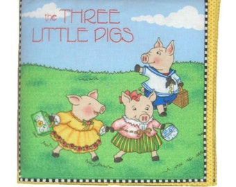 SOFT BABY BOOK - Made From Mary Engelbreit Fabric - The Three Little Pigs