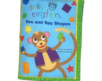 SOFT BOOK for CHILDREN - Made From Baby Einstein Fabric - Learn Shapes!