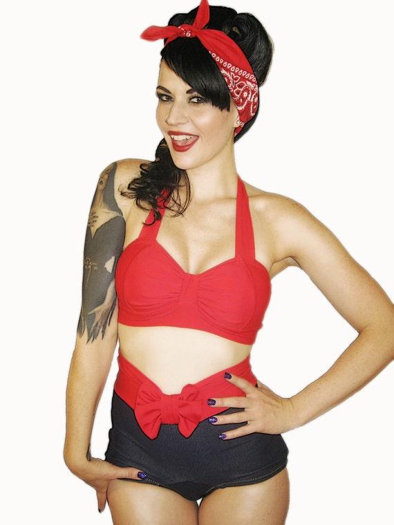 WINK Red Retro Bikini Top