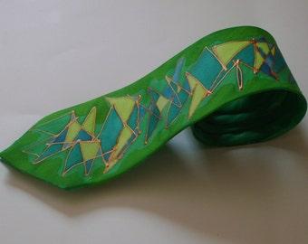 Scribble Necktie - Greens
