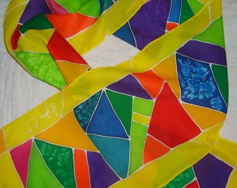 Stained Glass Silk Scarf - Rainbow Colors