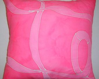 Pink Ribbon Silk Pillow Cover