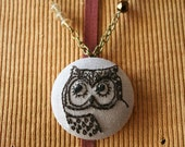 CUSTOM ORDER - TRISH - Hand Embroidered Antiqued Brass Pendant Locket Necklace - Owl