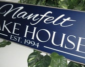 Custom Wood Sign, Personalized Family Name Sign, Last Name Sign, lake house, Cabin,  hand painted NO vinyl lettering
