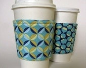 Reusable Reversible Coffee Sleeve - Turquoise Petals and Chestnuts