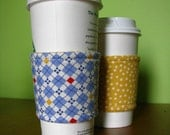 Reusable Reversible Coffee Sleeve - Blue tile with yellow dots