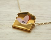 Secret Love Letters - Gold Envelope Necklace